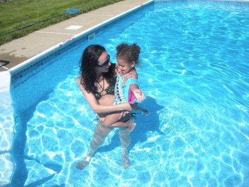 Valerie and Giana of Caln Township Enjoying the Opening of her Grandmoms Pool Memorial Day Weekend